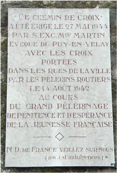 Plaque du pélerinage de 1942